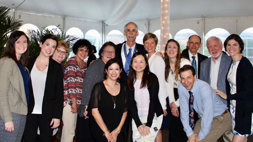 Dr. Stephen Salloway (center) and members of his team at the Memory and Aging Program at Butler Hospital celebrate at his induction into the RI Heritage Hall of Fame, May 8, 2019.